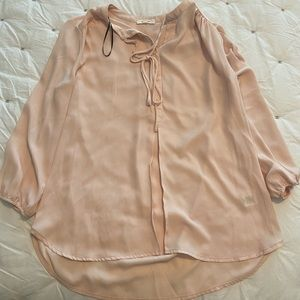 Pink Button Up Pullover Blouse